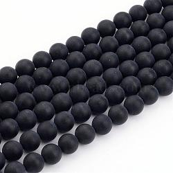 Natural Black Agate Bead Strands, Frosted, Round, 10mm, Hole: 1mm; about 39pcs/strand, 15.7inches