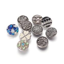 Boutons-pression en alliages, avec strass / émail, boutons de bijoux, formes mixtes, couleur mixte, 19~20x6~9mm, Bouton: 5~5.5 mm(RB-MSMC002-13)
