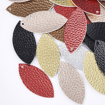 PU Leather Pendants, Horse Eye, Mixed Color, 40x18.5x1mm, Hole: 1.5mm(X-FIND-S300-52)