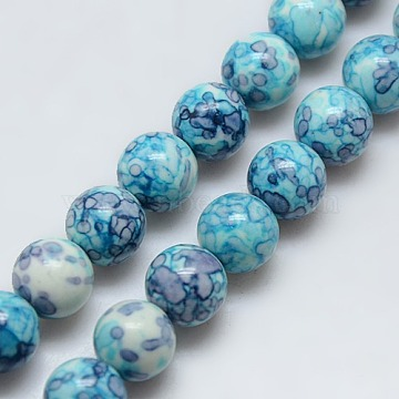 Synthetic Ocean White Jade Beads Strands, Dyed, Round, Deep Sky Blue, 8mm, Hole: 1mm, about 48pcs/strand, 15.35 inches(X-G-C219-8mm-02)