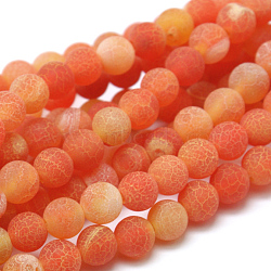 Natural Crackle Agate Beads Strands, Dyed, Round, Grade A, DarkOrange, 6mm, Hole: 1mm; about 63pcs/strand, 15.5