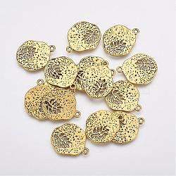 Tibetan Style Alloy Pendants, Lead Free & Nickel Free, Flat Round with Leaf, Antique Golden, 22x18x1mm, Hole: 1mm