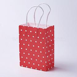 Sacs en papier kraft, avec poignées, sacs-cadeaux, sacs à provisions, rectangle, motif de points de polka, rouge, 15x11x6 cm(CARB-E002-XS-R04)