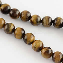 Natural Tiger Eye Round Bead Strands, 8mm, Hole: 1mm; about 48pcs/strand, 14.9 inches