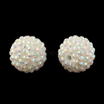 18mm White Round Resin+Rhinestone Beads