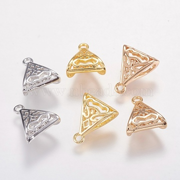 Brass Hanger Links, Bail Beads, Triangle, Mixed Color, 12x10x5mm, Hole: 1mm; Inner Diameter: 2.5x5mm(X-KK-I613-02)