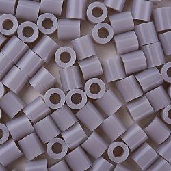 1 boîte 5 mm perles fondantes pe bricolage en perles à repasser recharges perler perles pour les enfants, Tube, grises , 5x5mm, trou: 3 mm; environ 500 / boîte(DIY-X0047-45-B)