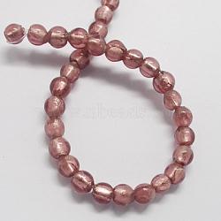 Perles en verre d'argent feuille manuelles, rond, palevioletred, 8mm, Trou: 2mm(X-FOIL-R054-4)