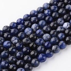 """Chapelets de perles en sodalite naturel, facette, rond, 8mm, trou: 1mm; environ 48 pcs/chapelet, 15.2""""(G-H050-8mm)"""