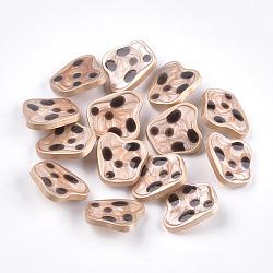 Boutons en alliage de zinc, avec résine époxy, couleur or mat, Sandybrown, 21x23.5x7.5mm, Trou: 2mm(X-BUTT-S023-05A-01)
