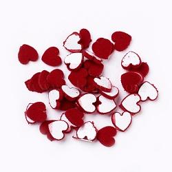 Cabochons en acrylique floqués, cœur, rouge, 9.5x9.5x2mm(OACR-I001-F01)