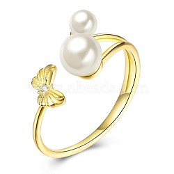 Adjustable 925 Sterling Silver Cuff Rings, Open Rings, with Austrian Crystal Pearl, Round & Butterfly, White, Golden(RJEW-BB32288)