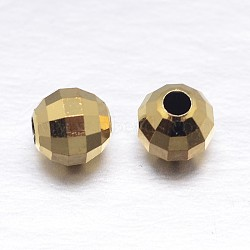 véritables perles d'espacement en argent sterling plaqué or 18 k, or, 4 mm, trou: 1.2 mm; environ 196 pcs / 20 g(STER-M103-03-4mm-G)