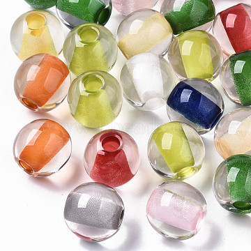Resin European Beads, Transparent Inside Colours, Large Hole Beads, Round, Mixed Color, 20x19mm, Hole: 6mm(RESI-N022-05)