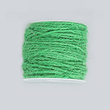 Jute Cord, Jute String, Jute Twine, for Jewelry Making, Green, 2mm, about 54.68 yards(50m)/roll(OCOR-WH0002-A-13)