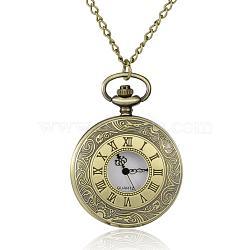 """Rondes alliage quartz montres de poche plats, avec des chaînes de fer et fermoirs pince de homard, bronze antique, 30.7""""; cadran montre: 64x47x14 mm; boitier montre: 37 mm(WACH-N039-05AB)"""