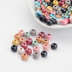 Round Natural Wood Beads, Dyed, Lead Free, Mixed Color, 5~6x6~7mm, Hole: 2~3mm(X-WOOD-Q017-6mm-M-LF)