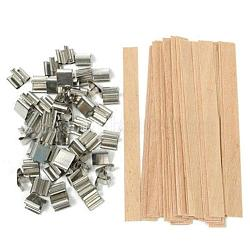 Bougie mèche bois, avec base de fer, rectangle, platine, burlywood, 15x13x10 mm; 132x13 mm(DIY-WH0056-03)