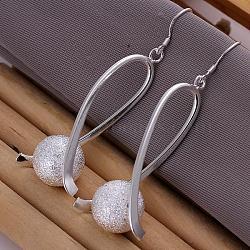 Boucles d'oreilles rondes texturées en laiton plaqué argent de haute qualité, 64x14mm(EJEW-BB11853)