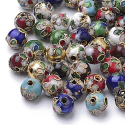 Handmade Cloisonne Beads, Round, Mixed Color, Round 8mm(+-0.5~1mm), hole: about 2mm(X-CLB8mm-M)