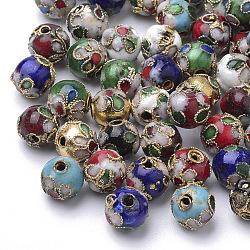 Perles en cloisonné Manuelles, rond, couleur mixte, 8mm ronde (+ - 0.5~1mm), trou: environ 2 mm(X-CLB8mm-M)
