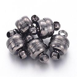 Fermoirs magnétiques en laiton, ovale, gunmetal, 11x7mm, Trou: 1.5mm(X-KK-H361-B)
