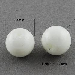 """Perles en verre peintes, cuisson des peintures, rond, fumée blanche, 4 mm; trou: 1.1~1.3 mm, Environ 200 pcs/chapelet, 31.4""""(X-DGLA-S071-4mm-01)"""