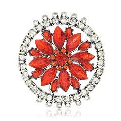 Alliage strass acrylique connecteurs chandeliers, avec strass cristal, plat et circulaire avec fleur, argent antique, orange rouge , 59x54x8mm, Trou: 1mm(TIBE-M001-66)