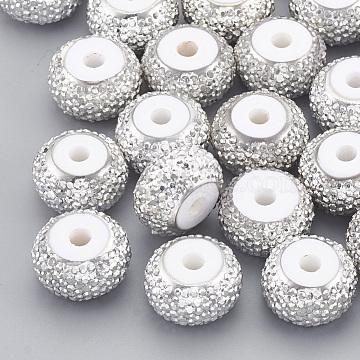 10mm White Rondelle Resin+Rhinestone Beads