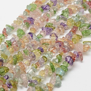 Crackle Glass Bead Strands, Chip, Colorful,  3~5x7~13x2~4mm, Hole: 0.4mm, 34.9 (X-G-F328-18)