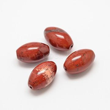 32mm Oval Red Jasper Beads