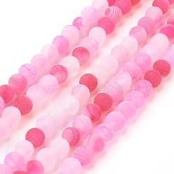 Natural Crackle Agate Beads Strands, Dyed, Round, Grade A, HotPink, 6mm, Hole: 1mm; about 63pcs/strand, 15.5