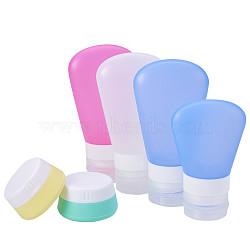 Bouteille portative créative de douche de silicone de shampooing cosmétique d'émulsion, pot de crème de silicone, couleur mixte, 20 ml / 60 ml / 37 ml, 6 pièces / kit(MRMJ-BC0001-03)