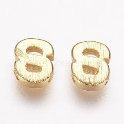 Breloques en laiton, véritable 18k plaqué or, letter.s, 6x5x2mm, Trou: 1mm(KK-P081-S)