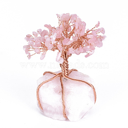 Natural Rose Quartz Chips and Rose Quartz Pedestal Display Decorations, with Rose Gold Tone Aluminum Wires, Lucky Tree, 120~150x65~80x52~72mm(G-S282-07)