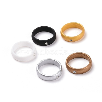 Silicone Finger Rings, with Rhinestone, Mixed Color, US Size 6, Inner Diameter: 17mm, 5pcs/bag(RJEW-H547-08B)