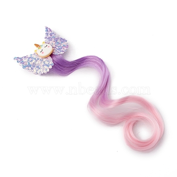 Imitation Leather Alligator Hair Clips, with Chemical Fiber and Iron Finding, Unicorn, for Little Girls Toddler Kids Children , Purple, 280mm(X-PHAR-WH0006-12A)