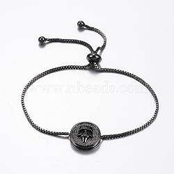 bracelets réglables en laiton à micro-pavé de zircons cubiques, bracelets de slider, avec des chaînes de boîte en laiton, plat rond avec le crâne, noir, bronze, 10-1 / 4 (260 mm)(BJEW-F296-19B)