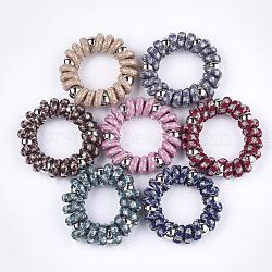 cordon téléphonique plastique liens de cheveux élastique, avec fil de nylon et perles plastiques ccb, pied de poule, couleur mélangée, 21~25 mm(OHAR-T006-02)