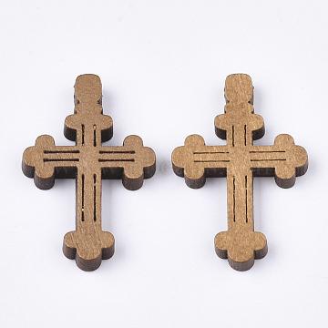 Wooden Pendants, Dyed, Cross, Camel, 33x21.5x4mm, Hole: 1.5mm(X-WOOD-S050-33B)