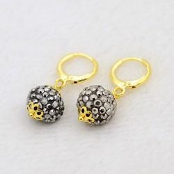 Pendantes rondes résine de balle boucles d'oreilles strass, avec boucles d'oreilles créoles en laiton doré, hématite, 30mm, pin: 1 mm(EJEW-J080-29G)