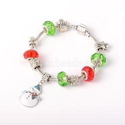 Laiton bijoux noël bracelets de style européen, perles de verre, séparateurs perles alliage de strass, alliage émail Noël Charms de bonhomme de neige et fermoir en laiton, colorées, 200mm(BJEW-JB01619-03)