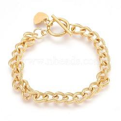"Bracelets avec chaîne gourmette en 304 acier inoxydable, avec fermoir et charme en forme de coeur, or, 7-1/2"" (19 cm), 7mm(BJEW-P237-06G)"