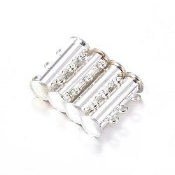 3 laiton brins-lame magnétique agrafes de verrouillage, 6 trous, plaqué argent, 20x10 mm, trou: 2 mm(X-E214-S)