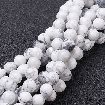 Gemstone Beads Strands, Natural Howlite Round Beads, White, about 8mm in diameter, hole: about 1mm, 15~16 inches(X-GSR015)