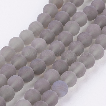 Natural Grey Agate Bead Strands, Frosted, Round, 8mm, Hole: 1mm; about 49pcs/strand, 15.7inches(X-G-H055-8mm)