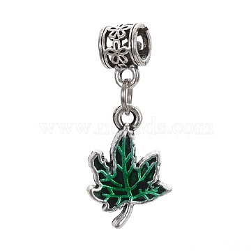 Autumn Theme Antique Silver Tone Alloy European Dangle Beads, Large Hole Pendants, with Enamel, Maple Leaf, Green, 33mm, Hole: 5mm; Leaf: 20x14x2mm(ENAM-I033-01AS)