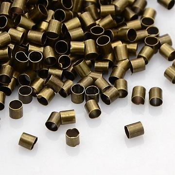 Brass Crimp Beads, Tube, Cadmium Free & Nickel Free & Lead Free, Antique Bronze, 3x3mm, Hole: 2.5mm(X-KK-L017-AB-NF)