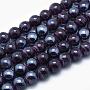 14mm Bleu Nuit Rond Lampwork Perles(X-EGLA-P046-A09)