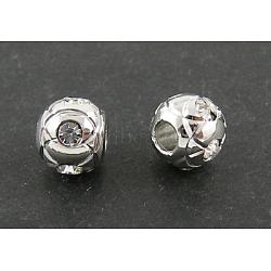 Alliage moyen orient des perles strass, rond, de couleur métal platine , sans nickel, taille: environ 8mm de diamètre, 7 mm d'épaisseur, trou: 3.5 mm(X-RSB047-NF)